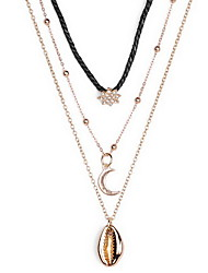 Women's Pendant Necklaces Simulated Diamond Shell Alloy Euramerican Bohemian Gold Jewelry Birthday Daily 1pc