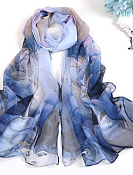 Women Vintage Leisure Chiffon Scarf Cute Party Casual Rectangle Blue Pink Print Thin Summer