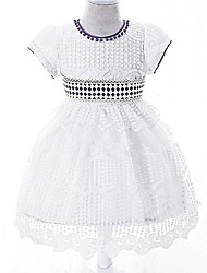 Ball Gown Knee-length Flower Girl Dress - Organza Short Sleeve Jewel with Beading Lace