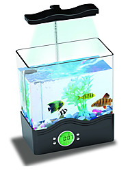 Mini Aquarium Fish Tank LED Colorful Light Calendar Digital Clock USB