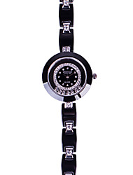 Fashion Watch Quartz Ceramic Band Black White