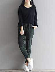 Sign new winter corduroy pants elastic waist pants feet thick was thin casual trousers