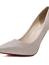 Feminino-Saltos-Sapatos clube-Salto Agulha-Dourado-Couro Ecológico-Social
