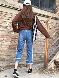 знак весной 2017 года новых женщин корейской бахромой края женская широкую ногу промывают джинсы