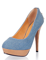 Women's Heels Spring Summer Fall Winter Club Shoes Denim Office & Career Party & Evening Dress Stiletto Heel Light Blue Navy Blue