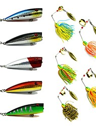 10 Pcs Popper Lure Buzzbait & Spinnerbait Lures kits