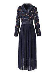 2017 nouveau printemps coréen dames dentelle deux pièces robe col robe de costume décontracté creux robe imprimée