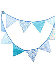 3.2m 12 Flags blue Banner Pennant Cotton Bunting Banner Booth Props Photobooth Birthday Wedding Party Decoration