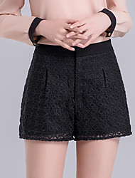 Women's Plus Size Wide Leg Shorts Pants,Going out Casual/Daily Simple Cute Solid Mesh Jacquard High Rise Zipper Cotton Micro-elastic