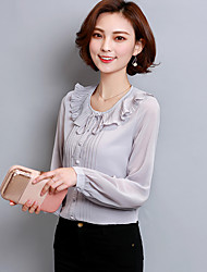 Women's Ruffle Sign blouses spring  Korean Fan wild lotus leaf collar chiffon shirt Slim