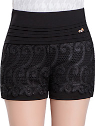 Women's Plus Size Slim Shorts Pants,Casual/Daily Work Sexy Cute Solid Lace High Rise Zipper Cotton Micro-elastic Summer