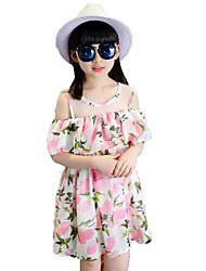 Girl's Beach Floral Dress,Cotton Polyester Summer Short Sleeve