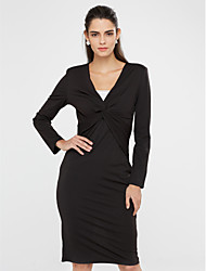 Women's Casual/Daily Cute Sheath Dress,Solid V Neck Knee-length Long Sleeve Blue / Black / Brown Polyester Fall Mid Rise Stretchy Medium