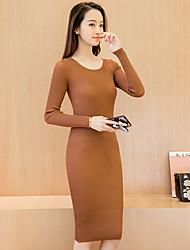 Zeichen Herbst und Winter lange Strickkleid dünner Rock Rundhals Pullover mit langen Ärmeln Kleid weibliche Sicherungs grundiert