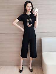 знак женский мода трикотажные костюмы мультфильм с короткими рукавами свитер + девять широкий ноги штаны из двух частей костюм