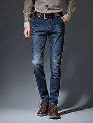 Men's Slim Jeans PantsCasual/Daily Simple Solid Mid Rise Button Cotton Polyester Micro-elastic All Seasons MG-Y608