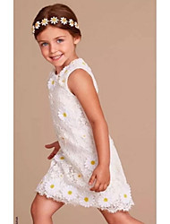Sheath / Column Knee Length Flower Girl Dress - Organza Sleeveless Jewel Neck with Applique by YDN