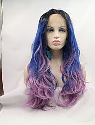 Sylvia Synthetic Lace Front Wig Blonde Roots Blue Purple Ombre Natural Wave Heat Resistant Synthetic Wigs