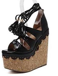 Damen-Sandalen-Kleid-PU-Keilabsatz-Club-Schuhe-Schwarz Rosa Mandelfarben