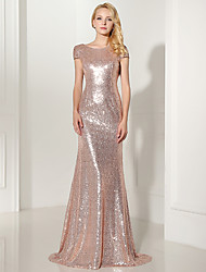 Formal Evening Dress Trumpet / Mermaid Jewel Floor-length Sequined with Sequins