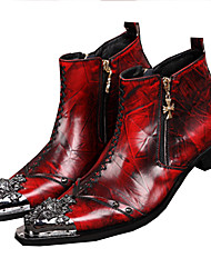 Men's Boots Spring Summer Fall Winter Comfort Novelty Leather Wedding Casual Party & Evening Flat Heel Rivet Stitching Lace Chain Red