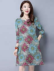 Spot really making 2017 spring new loose large size printing casual cotton V-neck dress long section