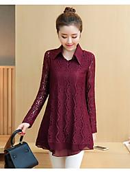 Women's Work A Line Dress,Jacquard Shirt Collar Above Knee Long Sleeve Cotton Spring High Rise Inelastic Medium