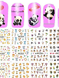 1pcs 12design Lovely Animal Image Nail Art Sticker Full Cover Water Transfer Decals Manicure Beauty A1249-1260