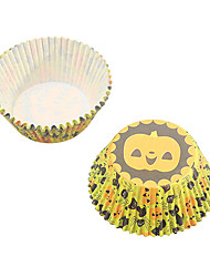 25 Pcs Stack Halloween Pumkpin Cupcake Muffin Cup Paper Tray 15x7x7cm