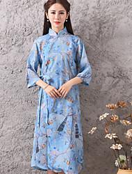 Sign 2017 summer new retro Chinese style very special cotton printed fabrics cheongsam dress women