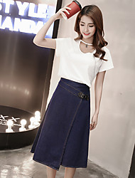 langen Abschnitt eines Kleid unregelmäßigen Schlitz Rock weiblicher koreanischer Jeansrock unterzeichnen Röcke Frühling und Sommer