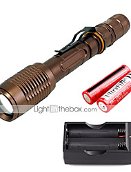 U'King ZQ-X1020C#-EU CREE XML T6 2000LM Zoomable 5Modes Flashlight Torch Kit with Batteries and Battery Charger