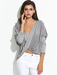 Tee-shirt Aux femmes,Couleur Pleine Sexy Automne Manches ¾ Col en V Gris Coton Moyen
