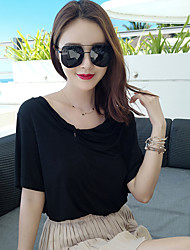 Exclusive custom wild loose cotton short-sleeved t-shirt solid color strapless shirt female summer tide