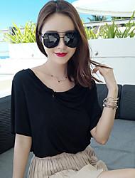 эксклюзивный пользовательский дикий свободные хлопка с короткими рукавами футболки сплошной цвет без бретелек рубашку женщин летом прилив