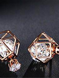 Geometric Double Side Earrings Hollow Out Front/Back Earrings Stud Earrings for Women 1 pair Gold Silver