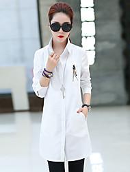 mujer&# 39; s camisa de manga larga y largas secciones delgado del resorte chaqueta ocasional 2017 nueva versión coreana del otoño de