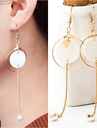 Natural Shell Round Circle Geometry Earrings Jewelry Wedding Party Daily Casual Alloy 1 pair Gold Silver