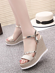 Sandals Summer Other PU Dress Wedge Heel Buckle Black Silver Gold