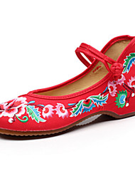 Oxfords Spring Summer Fall Winter Comfort Novelty Embroidered Shoes Canvas Outdoor Casual Athletic Flat Heel Buckle Flower Black Red Blue