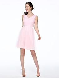 Lanting Bride® Courte / Mini Tulle Elégant Robe de Demoiselle d'Honneur  - Robe de Soirée Col en V avec Ceinture / Ruban Plissé