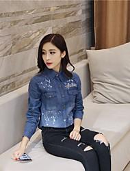 201 spring new Korean loose paint before your pocket denim shirt long coat female