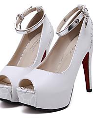 Damen-High Heels-Kleid-PU-Stöckelabsatz-Club-Schuhe-Schwarz Weiß