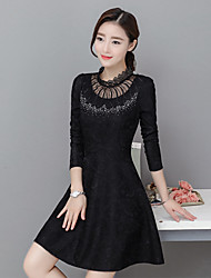 Sign in early spring 2016 new Korean version of the goddess temperament long-sleeved big swing skirt and long sections Slim lace jumpsuit