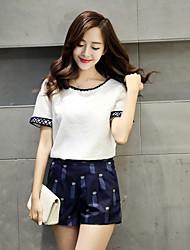 новые корейские женщины были тонкие с коротким рукавом хлопка моды печать досуг костюм брюки двухкусочные женщин