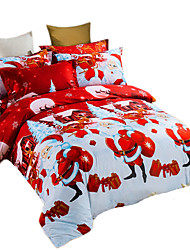 Mingjie 3D Reactive Happy Christmas Bedding Sets 4 Pcs for Queen Size Contain 1 Duvet Cover 1 Bedsheet 2 Pillowcases from China