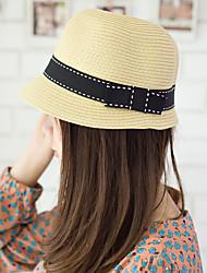 Women Vintage Straw Bucket Hat Sun Hat Bowknot Casual Summer