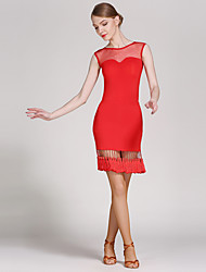 Latin Dance Outfits Women Performance Tulle Viscose Tassel(s) Splicing 2 Pieces Sleeveless Natural Skirt Leotard