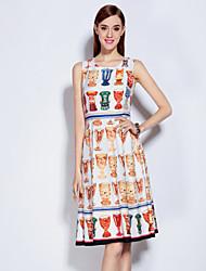 Courte Robe Femme Sortie Mignon,Imprimé Col Arrondi Mi-long Sans Manches Orange Polyester Spandex Printemps Eté Taille Normale