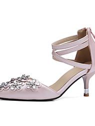 Heels Spring Summer Fall PU Wedding Dress Party & Evening Stiletto Heel Rhinestone Flower Black Blushing Pink